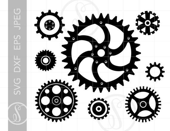 Steampunk clipart file. Gears svg cut downloads