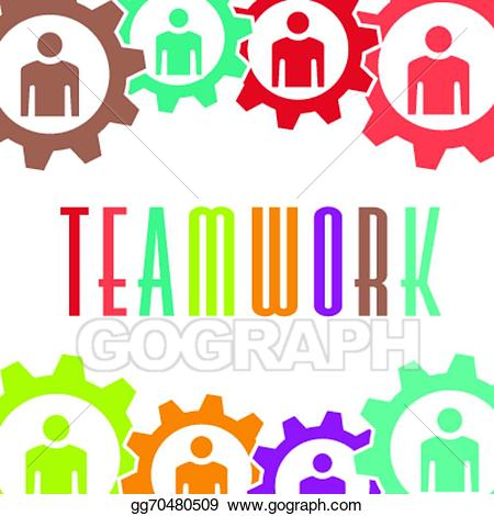 Vector stock people image. Teamwork clipart gear