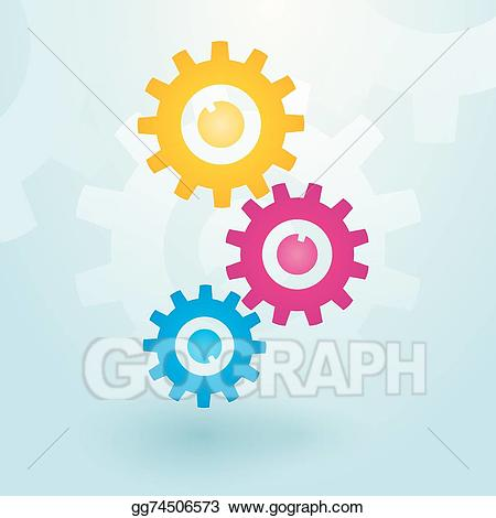 Eps illustration colorful vector. Gears clipart three