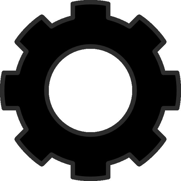 Gears clipart three. Black cog clip art