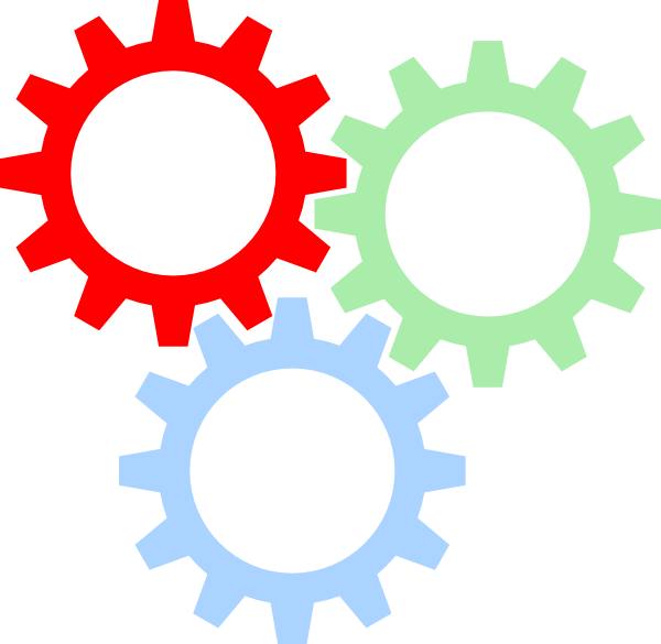 Tri color gears svg. Gear clipart vector art
