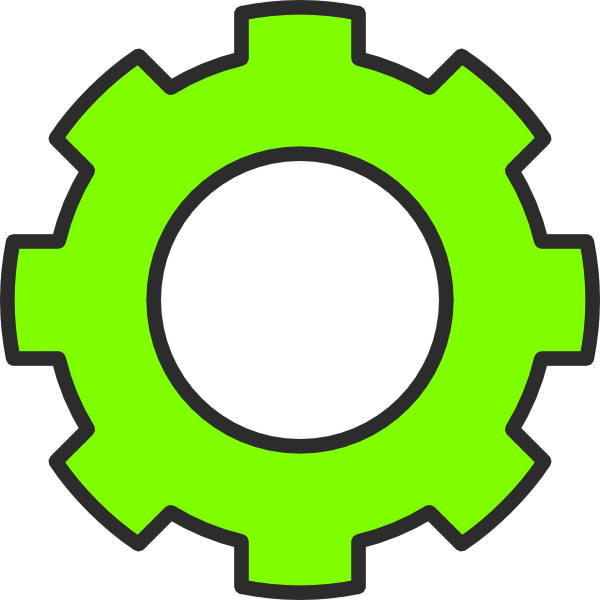 Green gears imagination movers. Gear clipart vector art