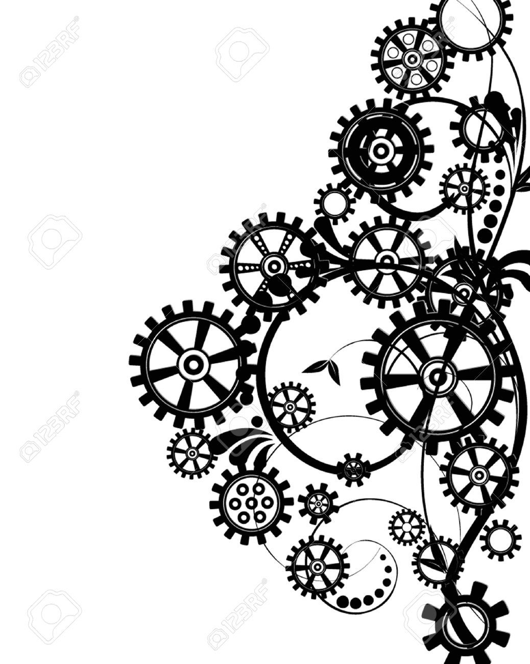 Wallpaper blink gear . Steampunk clipart silhouette