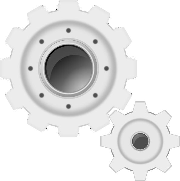 White gears clip art. Industry clipart gear wheel