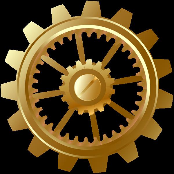 Gold clipart gears. Gear clip art png