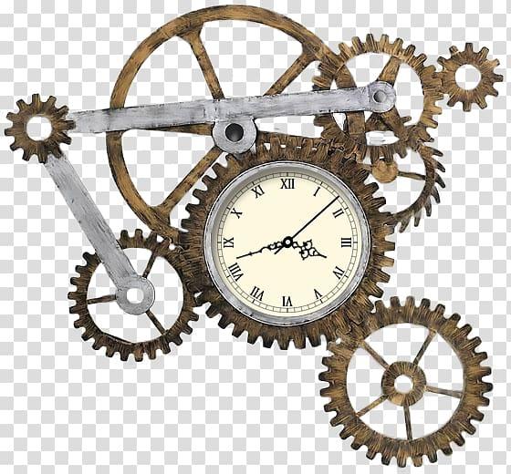 Brown gear analog illustration. Gears clipart clock mechanism