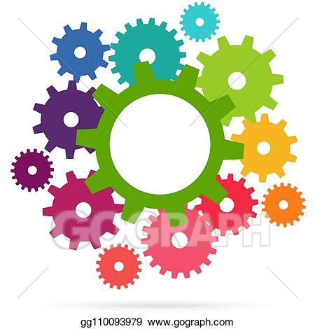 Teamwork clipart gear. Eps vector colored gears