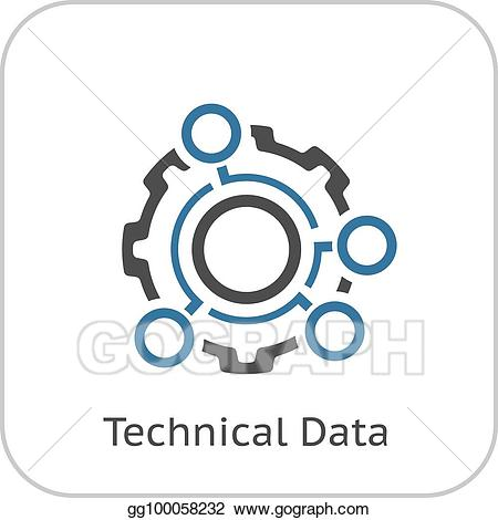 Vector technical data icon. Gears clipart engineering symbol