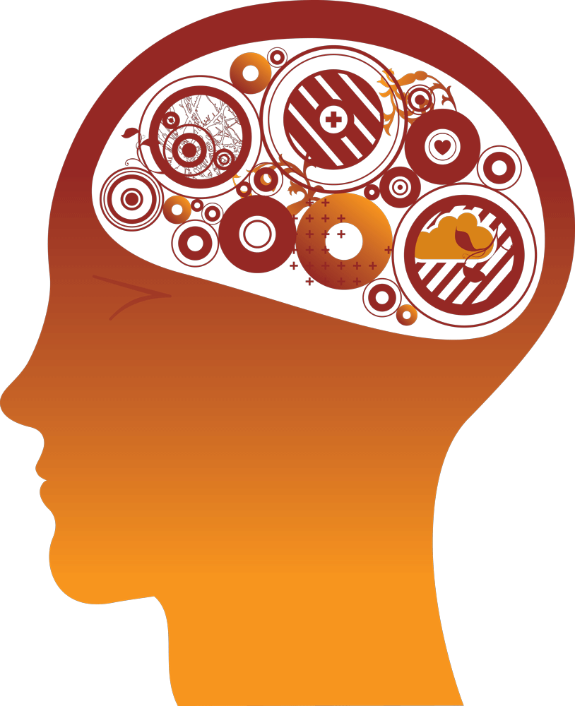 Images of gears icon. Psychology clipart gear brain