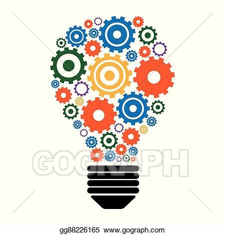 Gears clipart idea. Vector illustration light bulb