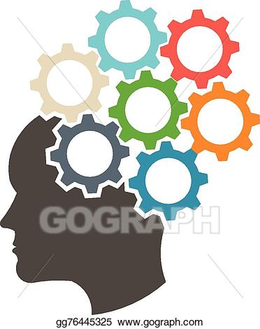 Eps illustration head in. Gears clipart mind