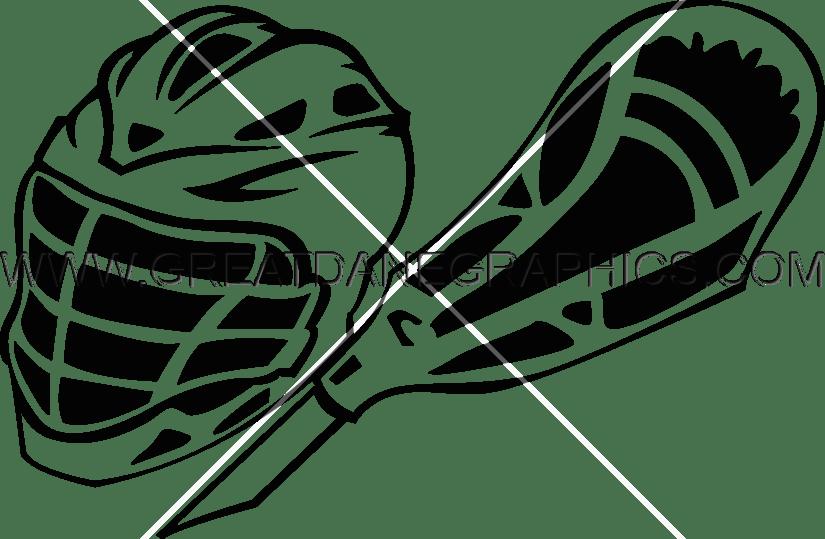 Lacrosse helmet stick ready. Gears clipart production