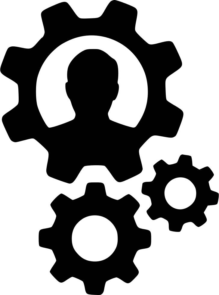 User person cogs settings. Gears clipart svg