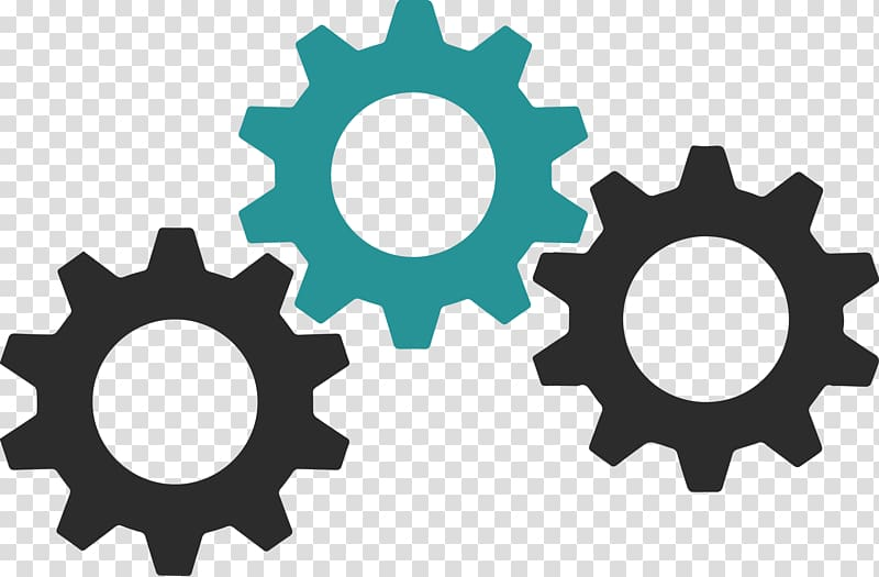 Assorted color gear train. Gears clipart three