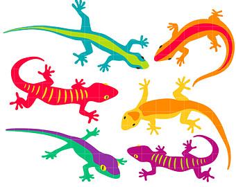 Lizard etsy colorful geckos. Gecko clipart