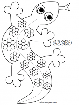 Free coloring pages printable. Gecko clipart kid