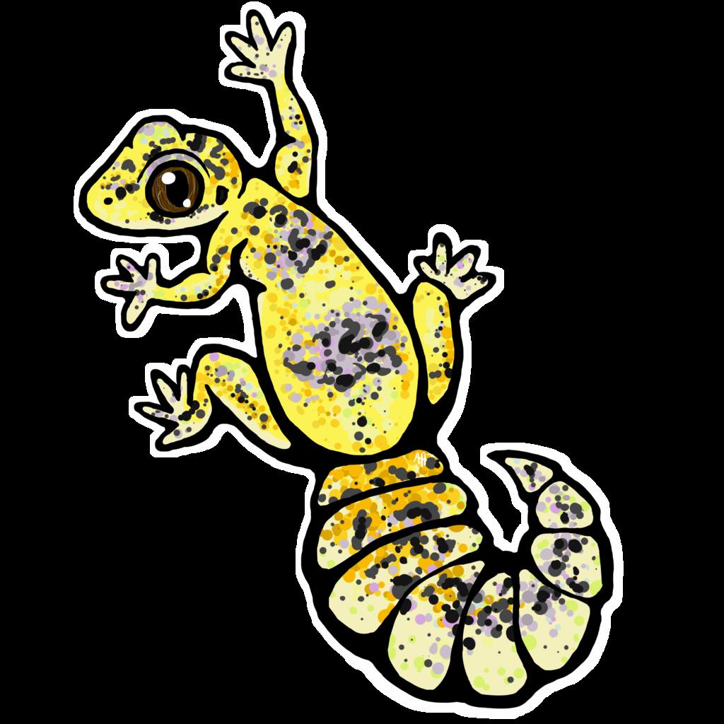 Gecko clipart line art. High yellow leopard stickers