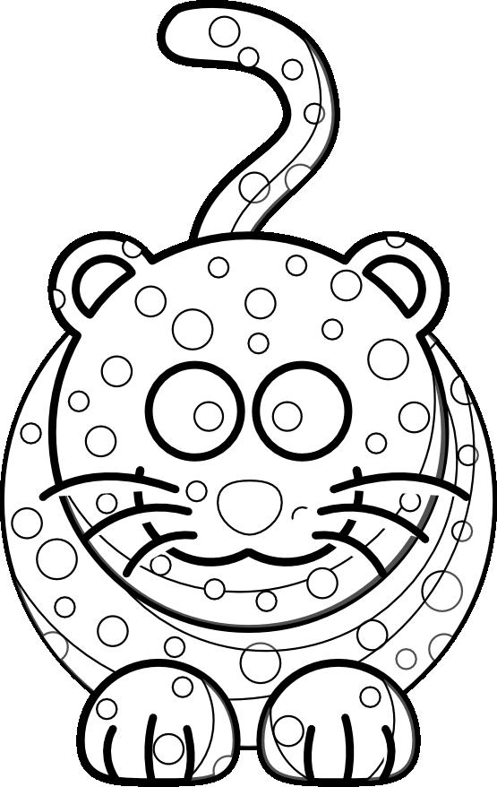 Jaguar clipart colouring. Leopard cartoon drawing at