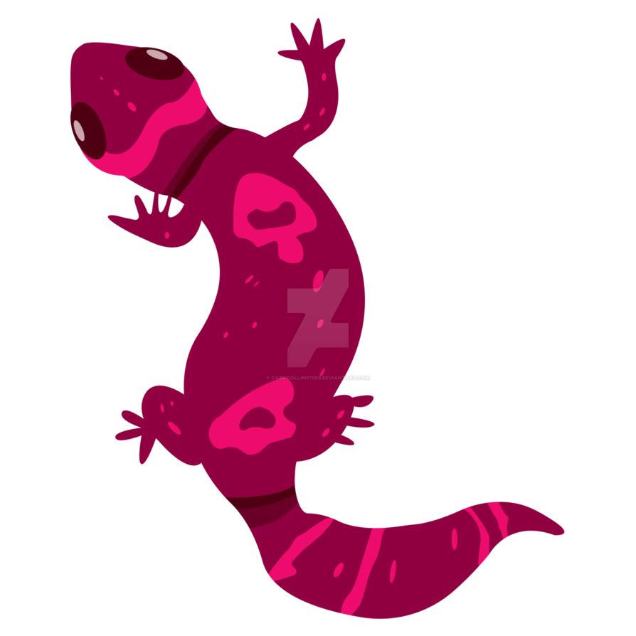 Red leopard by carocollins. Gecko clipart pink