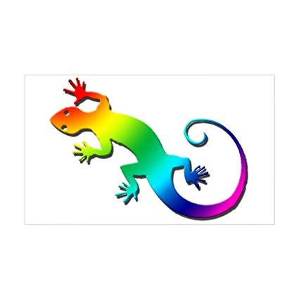 Amazon com cafepress sticker. Gecko clipart rainbow