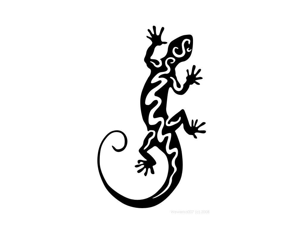 wonderful lizard tattoo. Gecko clipart tribal