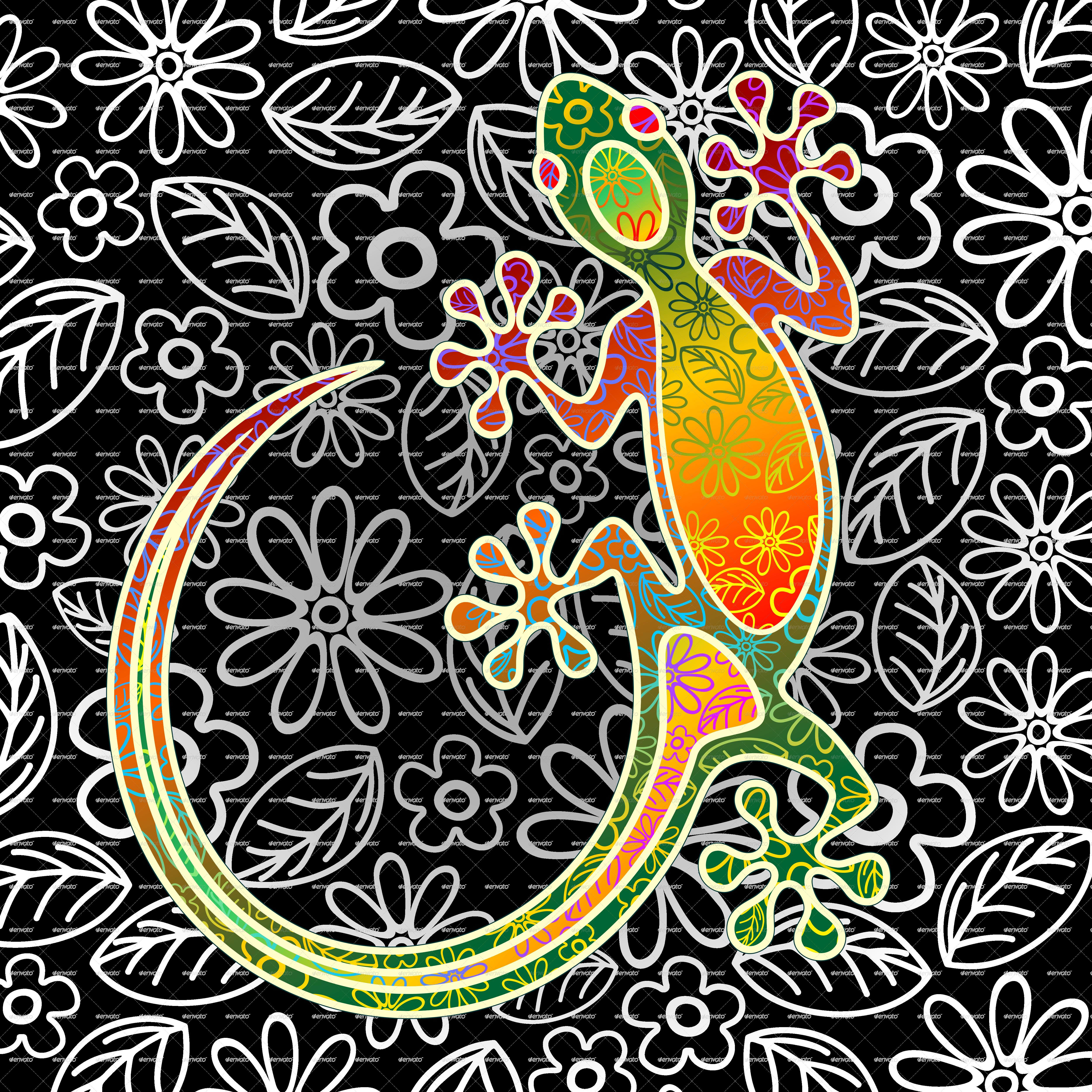 Floral art by bluedarkat. Gecko clipart tribal