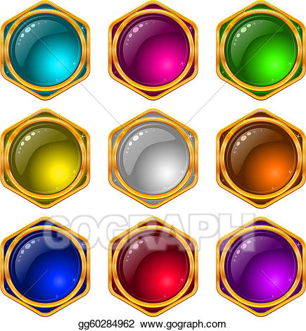 Gem clipart circle. Vector art buttons with