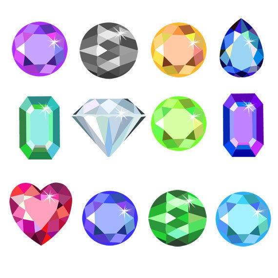 Gem clipart colorful gem. Stones clip art set