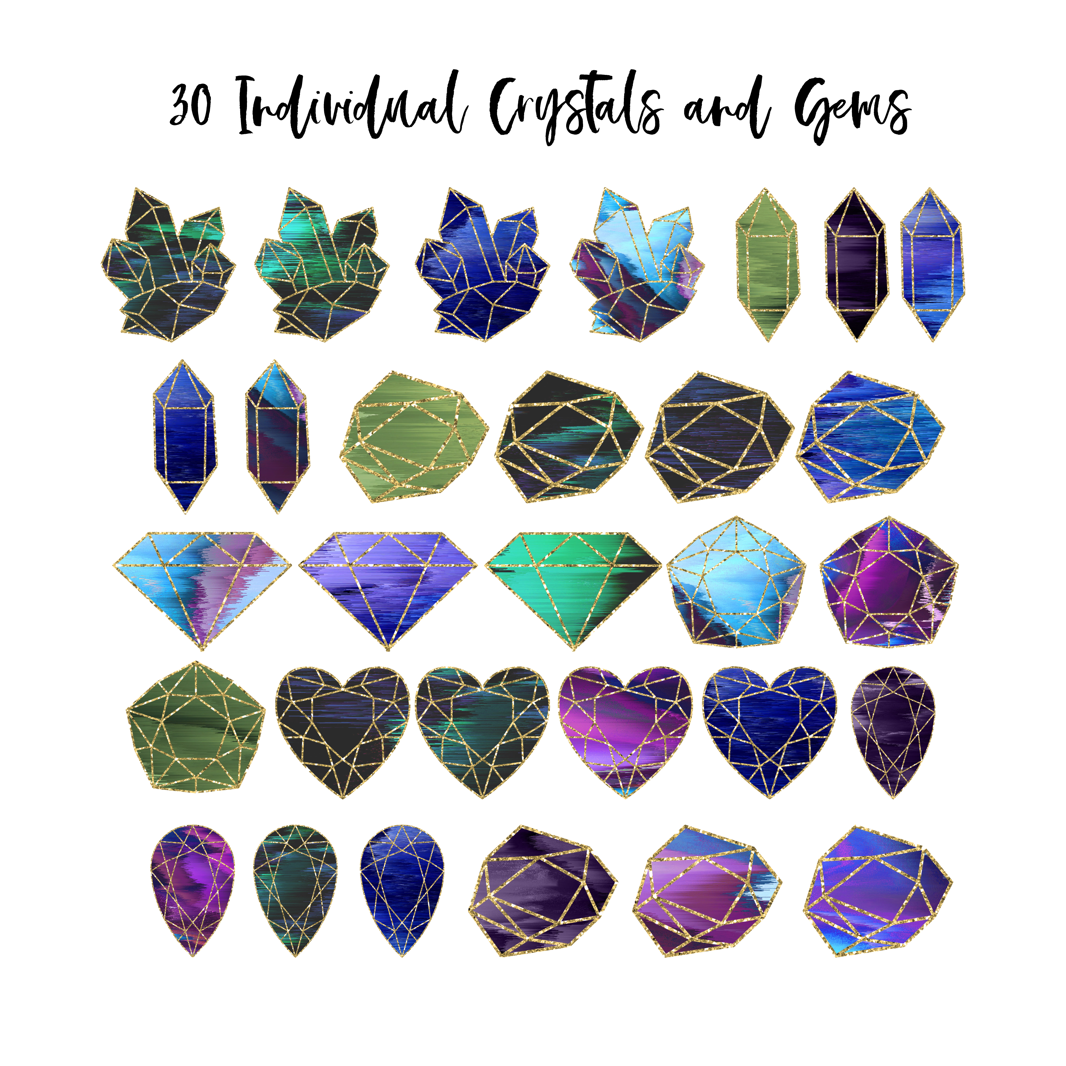 Number 2 clipart individual number. Mystical crystal gems pack