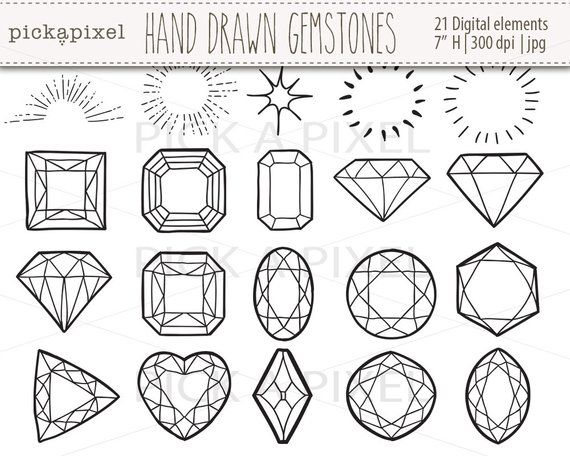 Gem clipart drawn. Hand gemstones diamonds in