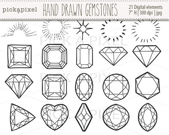 Hand drawn gemstones diamonds. Gem clipart outline