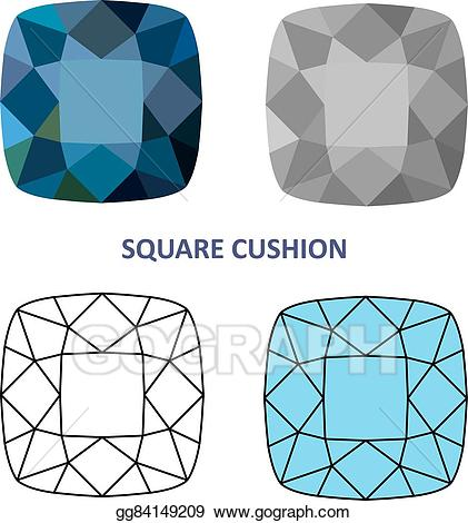 Vector art cushion cut. Gem clipart square gem