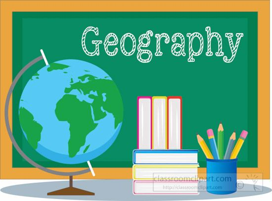 Geography clipart. School chalkboard with globe