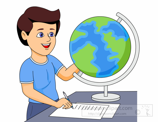 Announcements clipart student. Geography using a globe