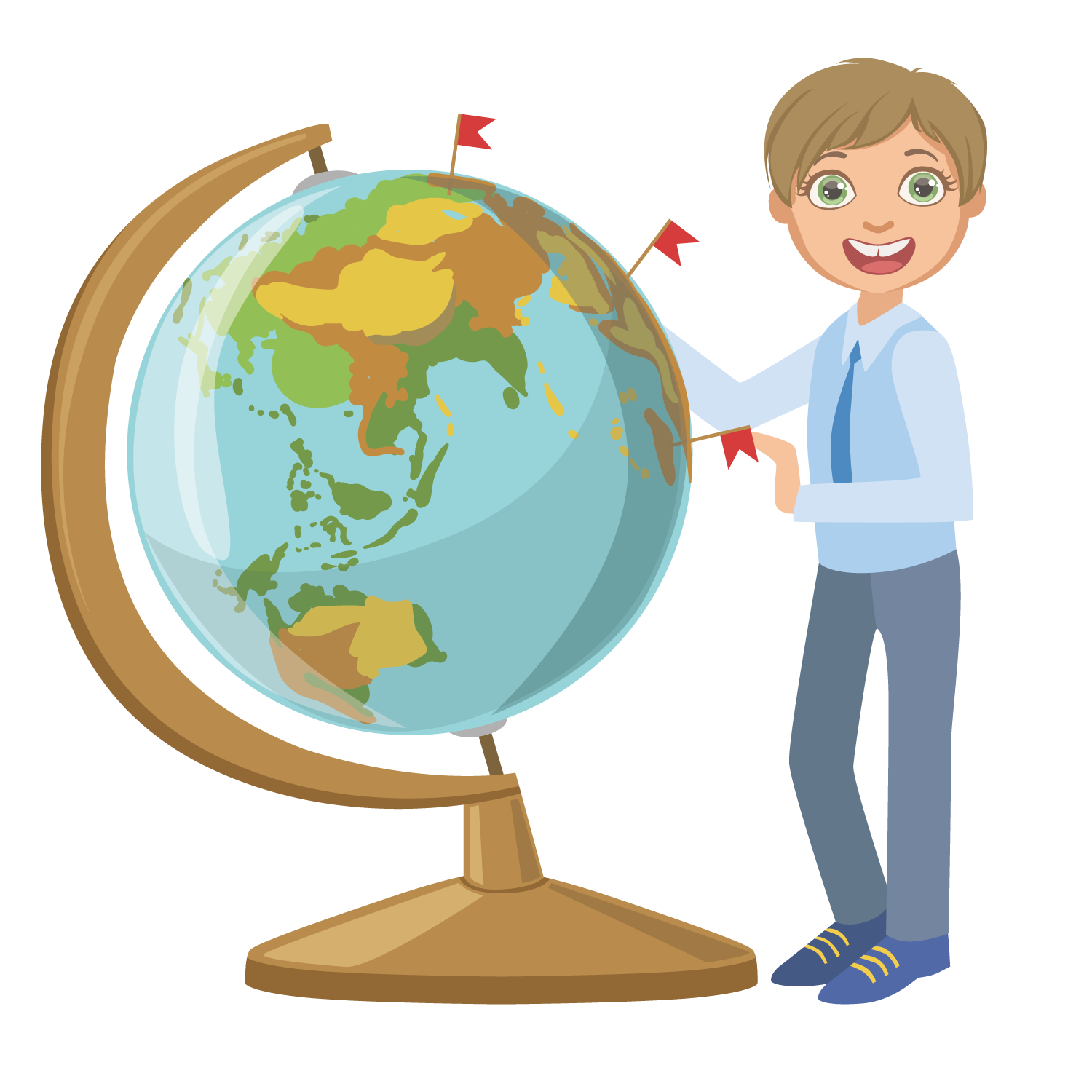 Globe teacher geography study. Student clipart character