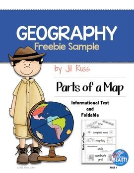 Parts of a map. Geography clipart informational