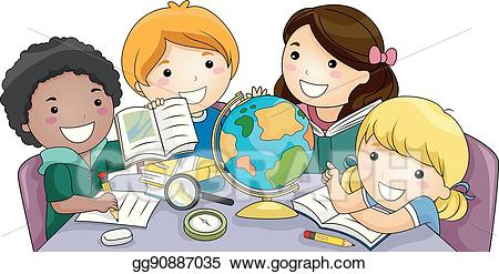Geography clipart kid. Vector art kids group