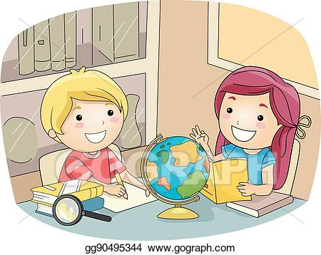 Vector kids study room. Geography clipart kid