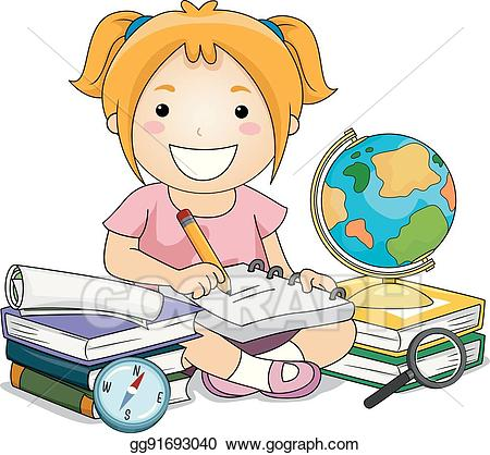 Vector art girl writing. Geography clipart kid