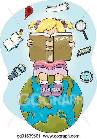 Eps vector girl read. Geography clipart kid