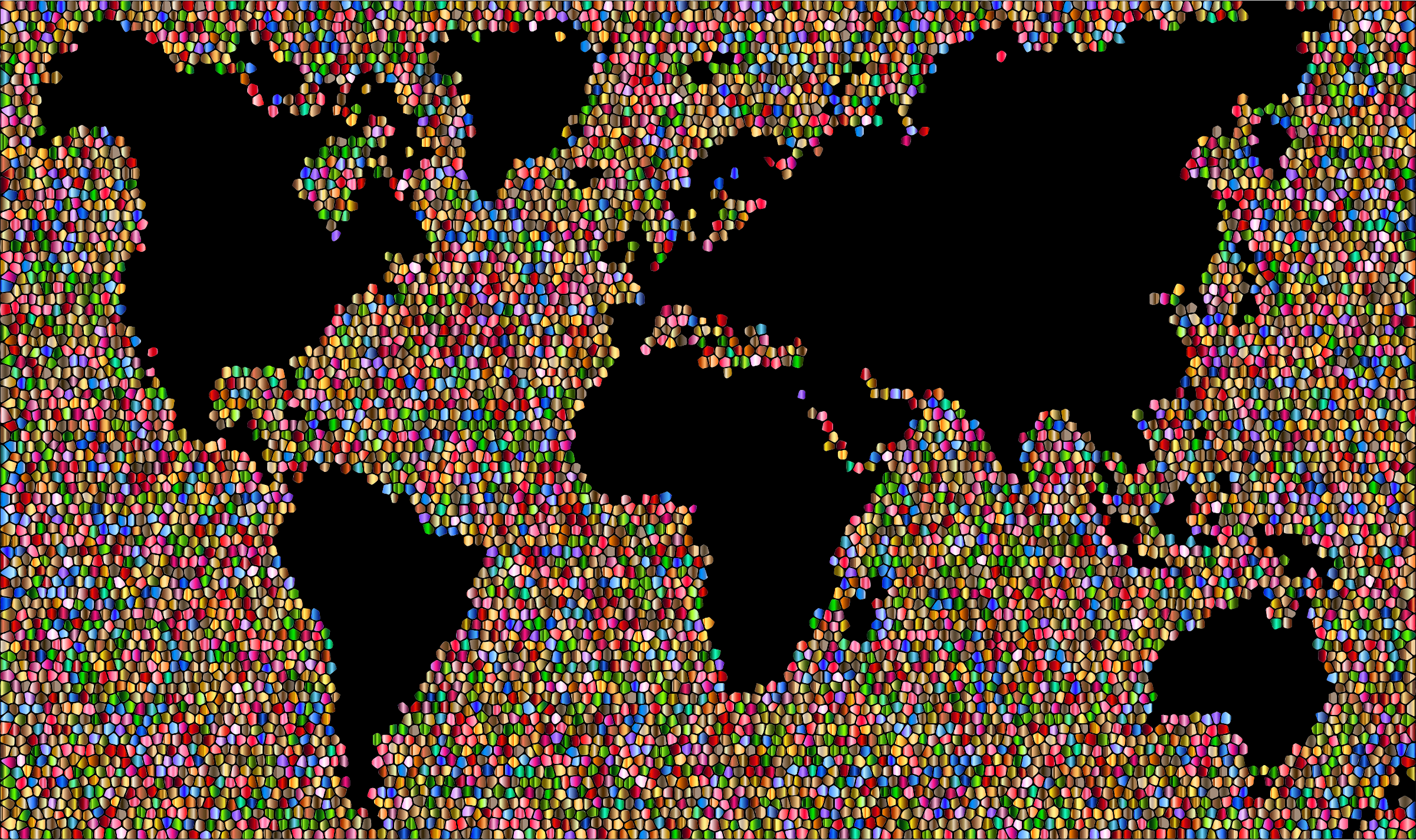 Colorful world map mosaic. Geography clipart landscape