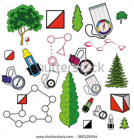 Geography clipart orienteering. Sports icons set of