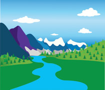 Geography clipart river. Mountains with and valley