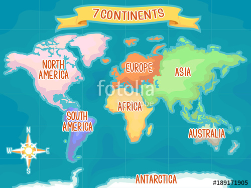 Geography clipart seven. Continents illustration stock image