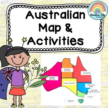 Australian map display and. Geography clipart student activity