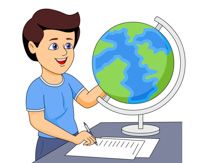 Geography clipart study student. Using a globe to