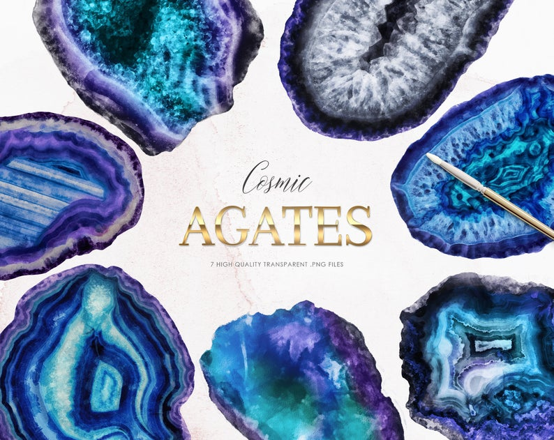 Geology clipart geode.  agate slices watercolor