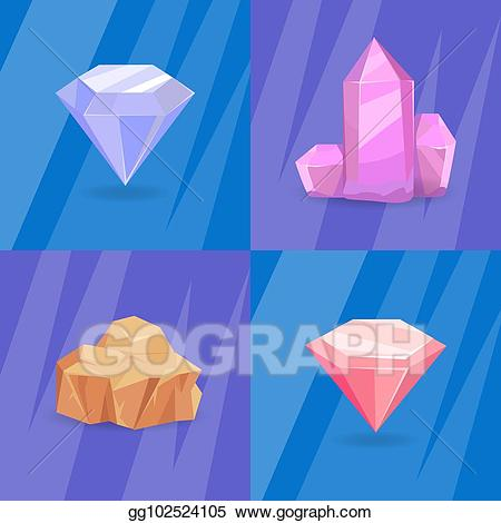 Clip art vector set. Geology clipart mineral resource