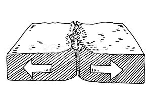 Geology clipart plate tectonic. Tectonics diverging drawing stock