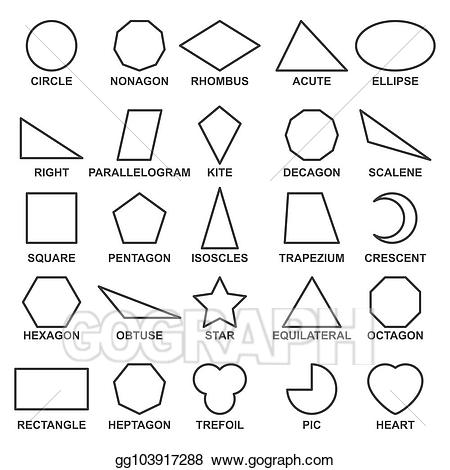 Vector illustration set of. Geometry clipart advanced mathematics